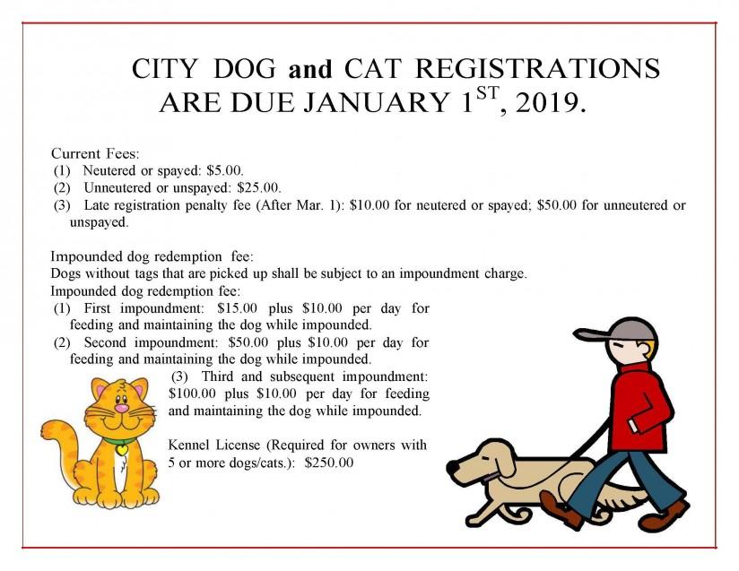 Dog Cat Registrations Due